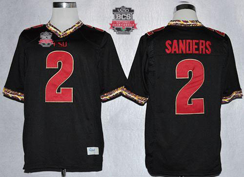 Seminoles #2 Deion Sanders Black 2014 BCS Bowl Patch Stitched NCAA Jersey