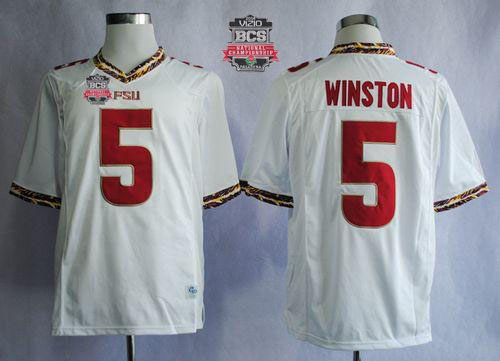 Seminoles #5 Jameis Winston White 2014 BCS Bowl Patch Stitched NCAA Jersey