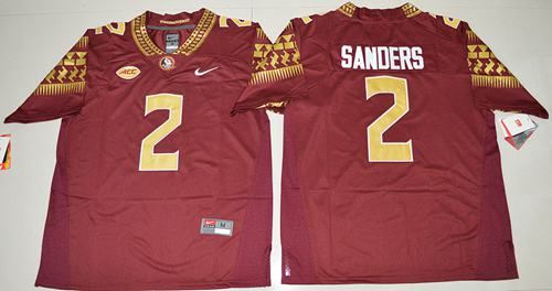 Seminoles #2 Deion Sanders Red Limited Stitched NCAA Limited Jersey