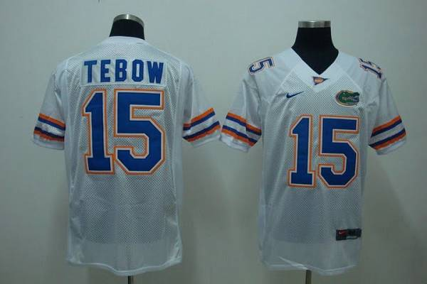 Gators #15 Tim Tebow White Stitched NCAA Jersey