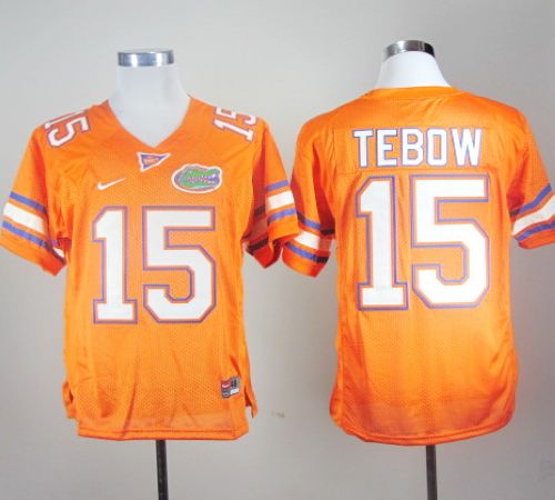 Gators #15 Tim Tebow Orange Stitched NCAA Jersey