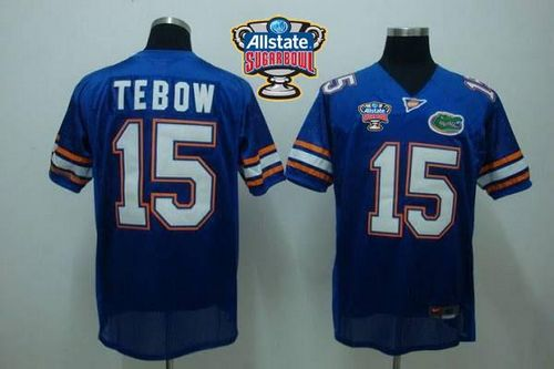Gators #15 Tim Tebow Blue Allstate Sugar Bowl Stitched NCAA Jersey