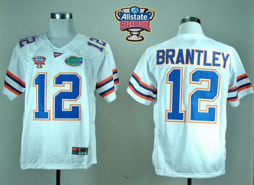 Gators #12 John Brantley White Allstate Sugar Bowl Stitched NCAA Jersey