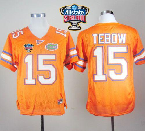 Gators #15 Tim Tebow Orange Allstate Sugar Bowl Stitched NCAA Jersey