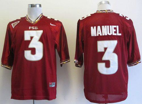 Seminoles #3 E.J Manuel Red Stitched NCAA Jersey