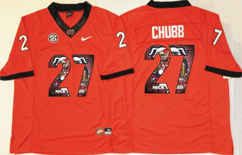 Bulldogs #27 Nick Chubb Red Player Fashion Stitched NCAA Jersey