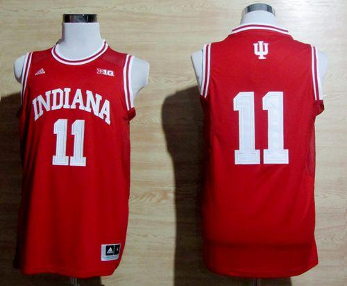 Hoosiers #11 Isiah Thomas Red Big 10 Patch Basketball Stitched NCAA Jersey