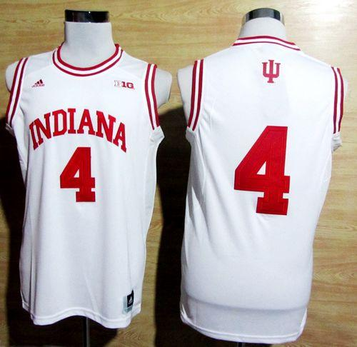 Hoosiers #4 Victor Oladipo White Big 10 Patch Basketball Stitched NCAA Jersey