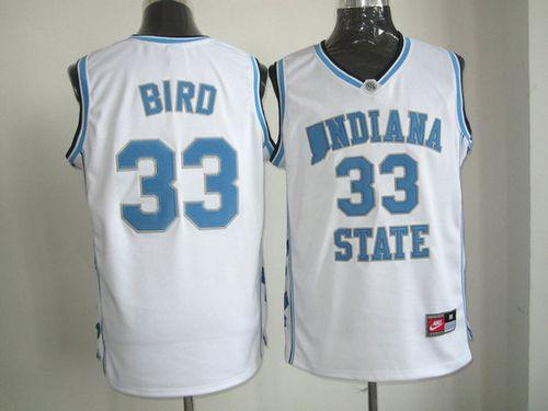 Sycamores #33 Larry Bird White Hardwood Legends Basketball Stitched NCAA Jersey