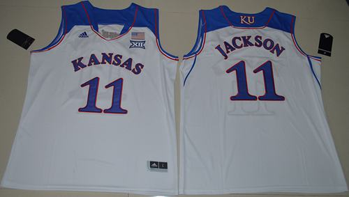 Jayhawks #11 Josh Jackson White Basketball Authentic Stitched NCAA Jersey