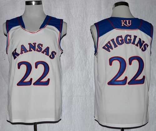 Jayhawks #22 Andrew Wiggins White Basketball Stitched NCAA Jersey