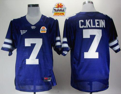 Wildcats #7 Collin Klein Purple Big 12 Patch Tostitos Fiesta Bowl Stitched NCAA Jersey