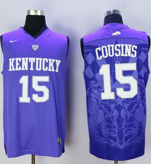Wildcats #15 DeMarcus Cousins Blue Basketball Stitched NCAA Jersey