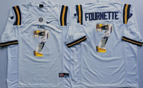 LSU Tigers #7 Leonard Fournette White Player Fashion Stitched NCAA Jersey