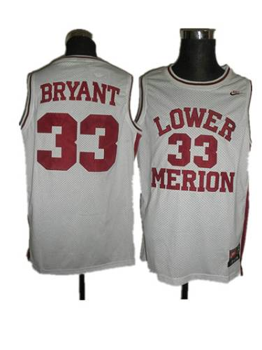 Merion #33 Kobe Bryant White Basketball Stitched NCAA Jersey