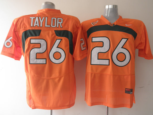 Hurricanes #26 Sean Taylor Orange Stitched NCAA Jerseys