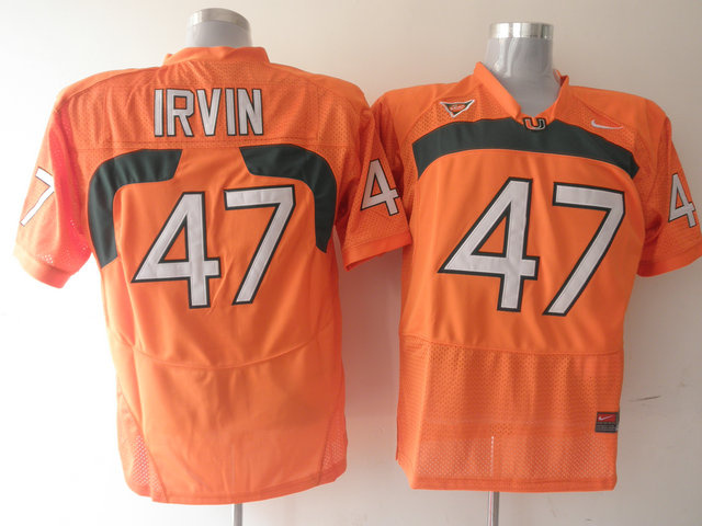 Hurricanes #47 Michael Irvin Orange Stitched NCAA Jerseys