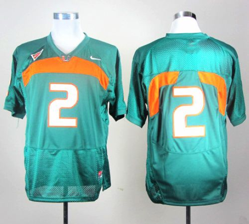 Hurricanes #2 Green Stitched NCAA Jerseys
