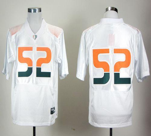 Hurricanes #52 R.Lewis White Pro Combat Stitched NCAA Jerseys