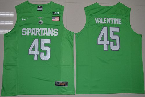 Spartans #45 Denzel Valentine Apple Green Authentic Basketball Stitched NCAA Jersey