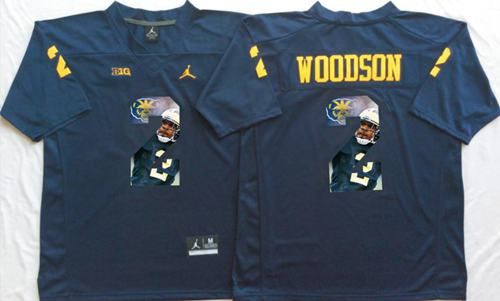 Wolverines #2 Charles Woodson Navy Blue Player Fashion Stitched NCAA Jersey