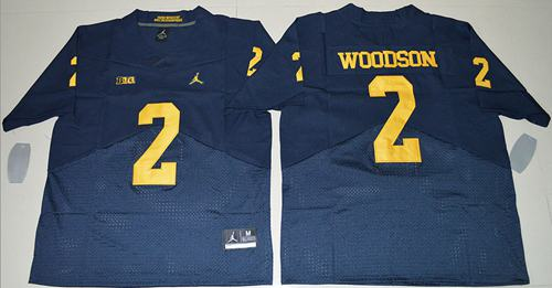 Wolverines #2 Charles Woodson Navy Blue Jordan Brand Elite Stitched NCAA Jersey
