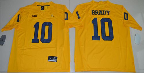 Wolverines #10 Tom Brady Gold Jordan Brand Limited Stitched NCAA Jersey