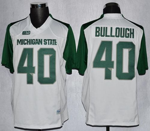 Spartans #40 Max Bullough White/Green Stitched NCAA Jersey