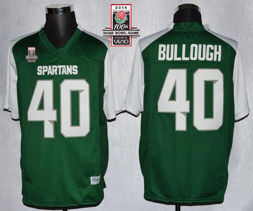Spartans #40 Max Bullough Green/White 2014 Rose Bowl Patch Stitched NCAA Jersey