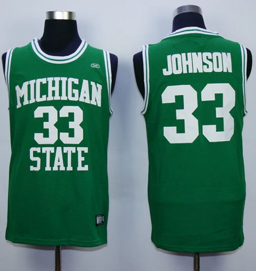 Spartans #33 Magic Johnson Green Stitched Hardwood Legends Basketball NCAA Jersey
