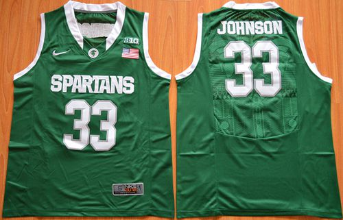 Spartans #33 Magic Johnson Green Authentic Basketball Stitched NCAA Jersey
