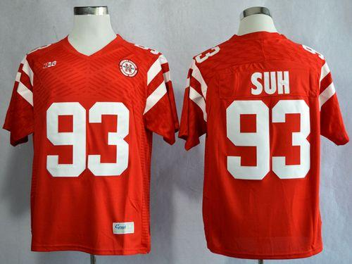 Cornhuskers #93 Ndamukong Suh Red New Big 10 Stitched NCAA Jersey