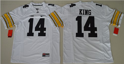 Hawkeyes #14 Desmond King White Stitched NCAA Jersey