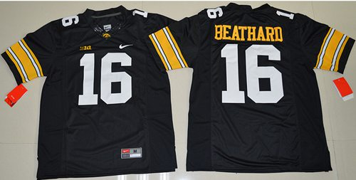 Hawkeyes #16 C. J. Beathard Black Stitched NCAA Jersey