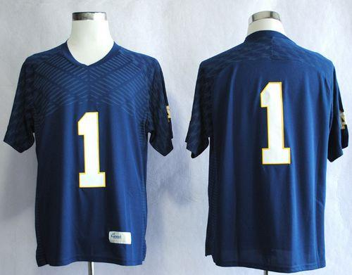 Fighting Irish #1 Louis Nix III Navy Blue Stitched NCAA Jersey