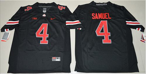 Buckeyes #4 Curtis Samuel Black(Red No.) Limited Stitched NCAA Jersey