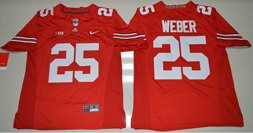 Buckeyes #25 Mike Weber Jr. Red Stitched NCAA Jersey