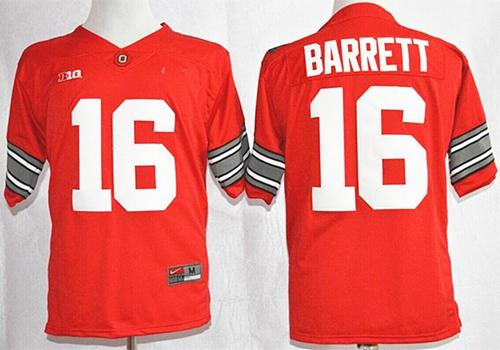 Buckeyes #16 J. T. Barrett Red Diamond Quest Stitched NCAA Jersey