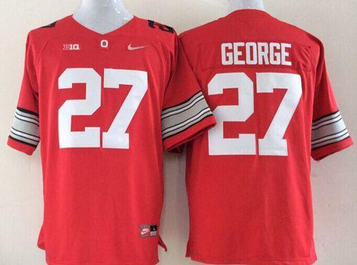 Buckeyes #27 Eddie George Red Limited Stitched NCAA Jersey