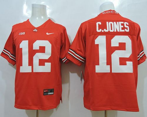 Buckeyes #12 Cardale Jones Red Limited Stitched NCAA Jersey