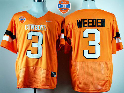Cowboys #3 Brandon Weeden Orange Pro Combat 2014 Cotton Bowl Patch Stitched NCAA Jersey