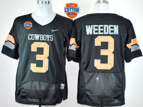 Cowboys #3 Brandon Weeden Black Pro Combat 2014 Cotton Bowl Patch Stitched NCAA Jersey