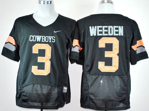 Cowboys #3 Brandon Weeden Black Pro Combat Stitched NCAA Jersey