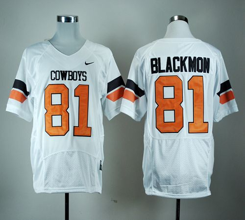 Cowboys #81 Justin Blackmon White Pro Combat Stitched NCAA Jersey
