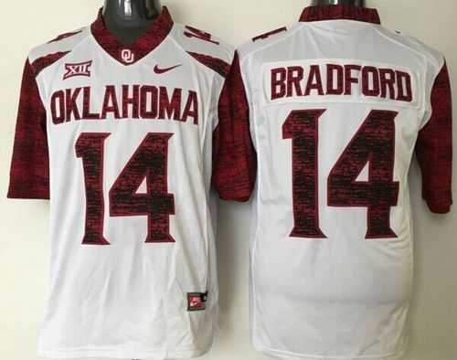 Sooners #14 Sam Bradford White New XII Stitched NCAA Jersey