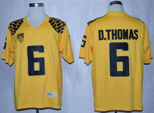 Ducks #6 De'Anthony Thomas Yellow Limited Stitched NCAA Jersey
