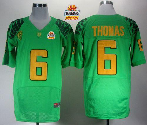 Ducks #6 De'Anthony Thomas Green Elite PAC-12 Patch Tostitos Fiesta Bowl Stitched NCAA Jersey