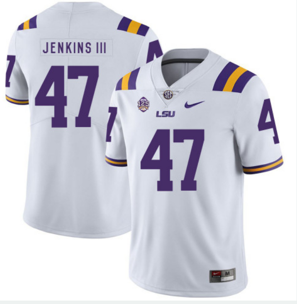LSU Tigers #47 Nelson Jenkins White Limited Stitched NCAA Jersey