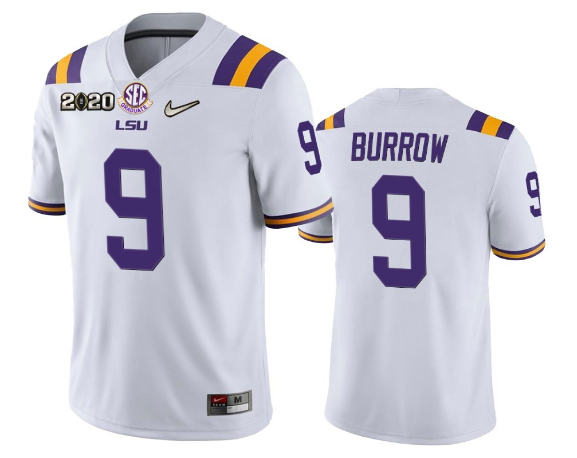 Men's LSU Tigers #9 Joe Burrow White 2020 National ChampionshipLimited Stitched NCAA Jersey