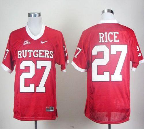 Knights #27 Ray Rice Red With Big East Patch Stitched NCAA Jersey